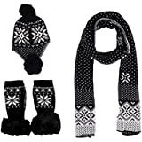 Simplicity Adult Child Scarf Hat Gloves Set Solid or Snowflake Knitting
