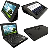 "iGadgitz Black 'Portfolio' PU Leather Case Cover for Asus Eee Pad Transformer & Keyboard Dock TF300 TF300T TF300TG & TF300TL 10.1"" Android Tablet"