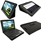 igadgitz Black 'Portfolio' PU Leather Case Cover for Asus Eee Pad Transformer & Keyboard Dock TF300 TF300T 10.1 Android Tablet