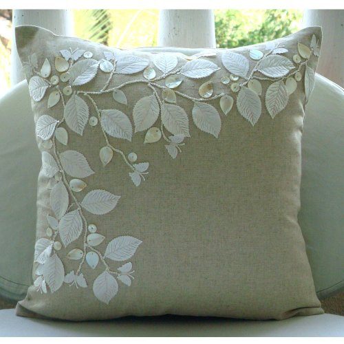 Revews Linen Beauty - 24x24 Inches Large Throw Pillow Covers - Cotton Linen Pillow Cover with ...