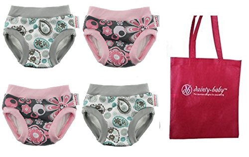 Blueberry Training Pants, 4 Pack with Dainty Baby Reusable Bag, Medium (Girls)