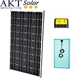 140W AKT Solar Panel Kit with 20A charge controller and solar cables - Complete kit for a 12V system e.g. in a Caravan, Boat or Outhouse