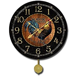 Black & Wood Rooster Pendulum Wall Clock, 10 - 24, Whisper Quiet, non-ticking