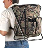 Camo Outdoorsman Backpack & Chair Combo Camping Sporting Events