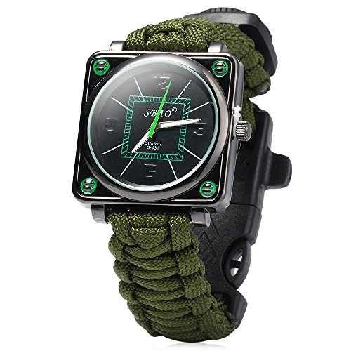 Paracord Outdoor Watch Survival Compass Whistle Fire Starter Umbrella rope Watchband Bracelet