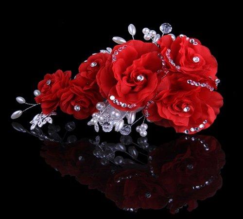 1 Pieces Beige Silky Flower Rhinestone Bridal Wedding Headpiece Head Wrap Hair Clip Pearl Hair Accessories (Red)