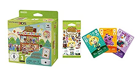 Animal Crossing: Happy Home Designer + 1 Tarjeta Amiibo + Lector/Escritor NFC + Pack 3 Tarjetas Amiibo