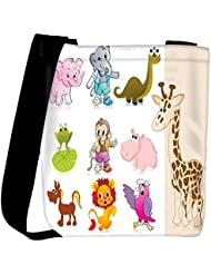 Snoogg Set Of Animal With Background Womens Carry Around Cross Body Tote Handbag Sling Bags