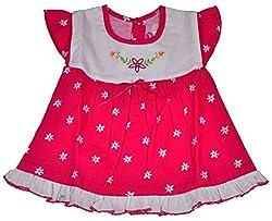 Be BeBo Baby Girl's cotton Regular Fit Dress (557, Pink, 0-3 months)