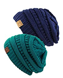 Unisex Trendy Warm Chunky Soft Stretch Cable Knit Slouchy Beanie Skully (Gift Set- Teal and Navy),One Size