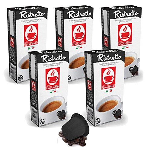 Get Bonini Coffee Capsules, Ristretto - Nespresso Compatible- 5-Pack (5x10 Capsules) from Caffè Tiziano Bonini