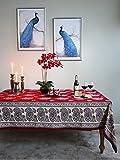 Dancing Paisleys ~ Paisley Print Vintage Kashmir Red Tablecloth 70x120