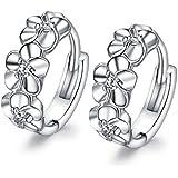 Fashmond- Boucles d'oreilles anneaux Fleur Argent fin 925 oxyde de zirconium Brillant et charmant- Cadeau Saint Valentin Anniversaire