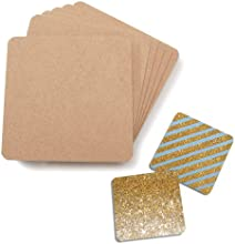 Set of Six Unfinished 4quotx4quot Fiberboard Coasters for Arts and Crafts Projects