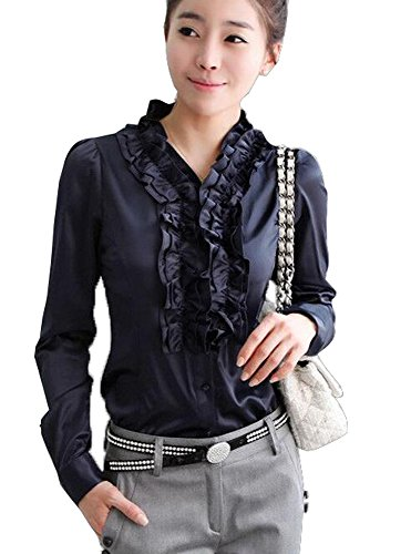 Aro Lora Women's Long Sleeve Slim Fit V Neck Ruffled Shirt Blouse