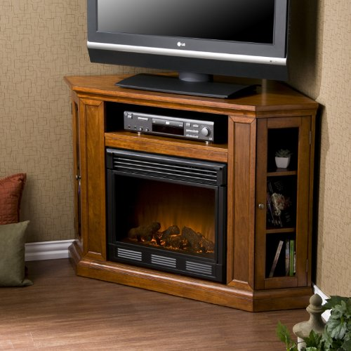 Convertible Electric Fireplace with Cabinet , TV Media Stand Console - Mahogany image B008YM8KH6.jpg