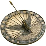 Rome 2468 Bronze Peace Dove Sundial, Cold Cast Antique Bronze, 12-Inch Diameter
