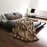 "Best Home Fashion Amber Fox Faux Fur Full Throw Blanket 58"" x 84"" - TR"