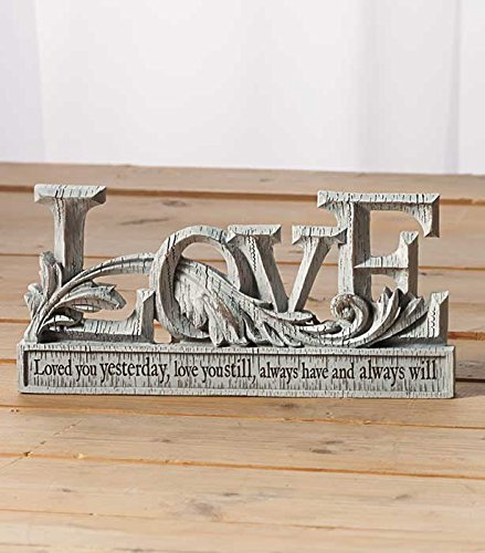 Love Distressed Wood Look Romantic Sentiments Sign Shabby Chic Table Top Decor (Love Decor Tabletop compare prices)