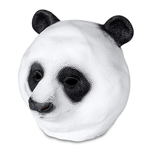 Flexzion Panda Head Mask Full Head Novelty Creepy Animal Costume Decoration Latex Masquerade for Halloween Cosplay Theme Party Theater Prop Role Play Fit Most Adult Men Women