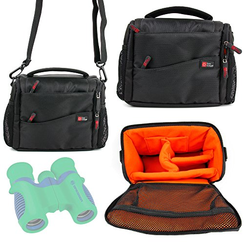 Duragadget Large Padded Double-Zip Holdal Case With Adjustable Shoulder Strap For Bresser Junior Childrens Binoculars 6X21, Learning Resource Geosafari Compass Binoculars & Bushnell H20 Roof Prism 8X42 Waterproof Binocular