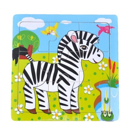 XQ146 9-piece Wooden Colorful Jigsaw Animal Puzzle, Zebra
