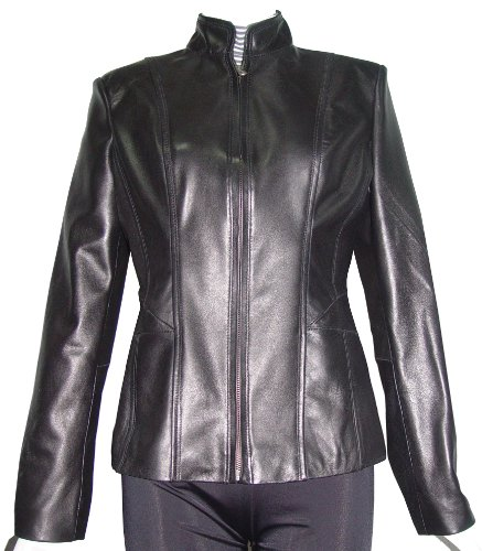 Nettailor Women PETITE SZ 4187 Soft Genuine Leather Simple Easy Biker Jacket