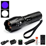 Moobibear Dual-Use Ultra Violet Black light Flashlight,Purple and white LED Chip UV Handheld Flashlight to Find Pets Urine Stains Detector,Zoomable Torch with Rechargeable Battery For Hiking,Hunting