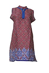 Tulip Collections Women's Printed Cotton Kurti (Red)