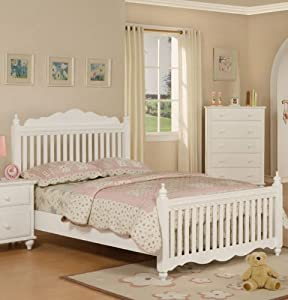 Twin Size Bed with Frame - White Finish