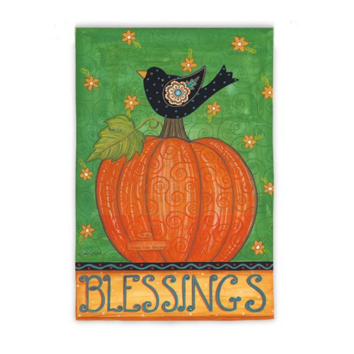 Blessings Bird on Pumpkin Garden Flag
