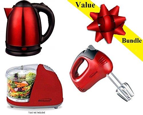 Brentwood Value Bundle Electric Kettle, Hand Blender & Food Chopper.