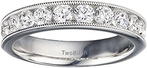 Silver Millgrained Traditional Round Channel Set Wedding Ring with Diamonds 05 ct twt