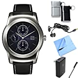 LG Watch Urbane Android Smartwatch (Silver) Essentials Bundle includes Urbane Android Smartwatch, Ear Buds, Stylus, Pouch 2-Pack, Wall Charger and Microfiber Cloth
