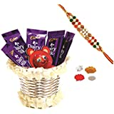 Cadbury Dairy MIlk & Skylofts Chocolates Gift Pack ( 10pcs) With Rakhi, Teeka Combo - Rakhi Gifts