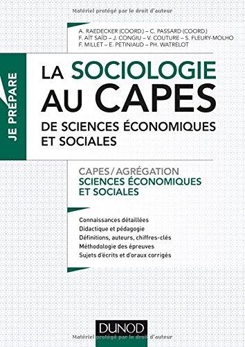 La sociologie au CAPES de SES - Capes de Sciences économiques et sociales
