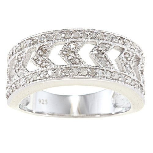 Sterling Silver 1/2ct Vintage Style Diamond Anniversary Ring (G-H, I2)