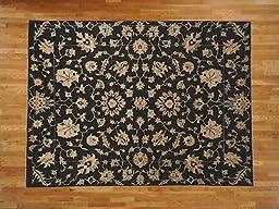 8 x 10 HAND KNOTTED BLACK PESHAWAR DESIGN ORIENTAL RUG G19296