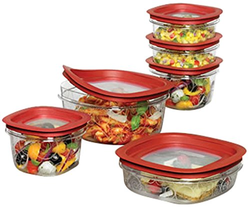 Rubbermaid FG7J11TRCHILI Food Storage Container with Easy Fine Lids, Set of 12, Red