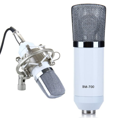 Excelvan® Condenser Sound Recording Microphone + Mic Shock Mount, Ideal For Radio Broadcasting Studio, Voice-Over Sound Studio, Recording And So On(White)