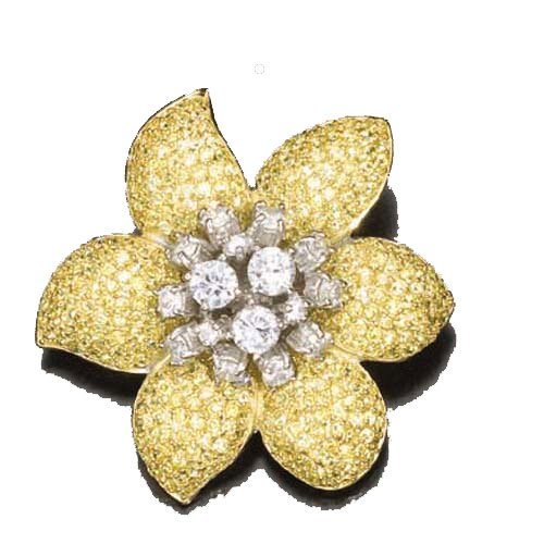 C.Z. And Yellow Stardust (.925) S/S Brooch (Nice Holiday Gift, Special Black Firday Sale)