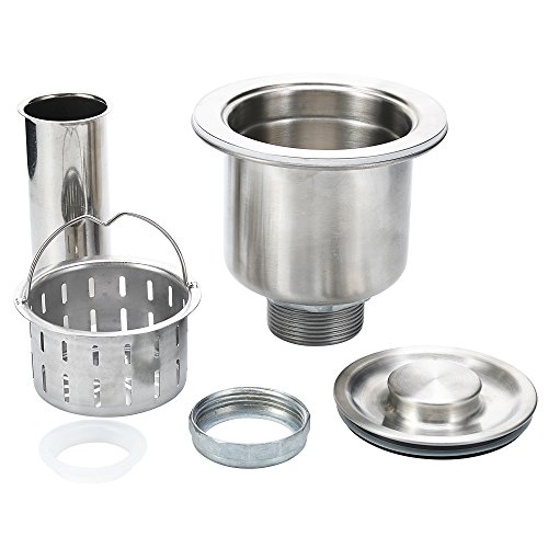 3½ Inch Kitchen Sink Drain Assembly With DEEP Strainer Basket – 304 Stainless Steel Strainer and Drain Kit