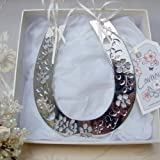 Silver Plated Horseshoe, 13.5 x 15.5cm - ideal gift for Wedding, Newborn Baby or Christening