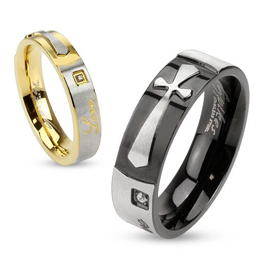 "Str-0135 Stainless Steel Band With Single Cz Between Engraved ""Love"" And Cross; Sold As 1 Piece (7)"