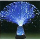 """Glasfaserlampe """"Blue Ice"""" im Ufo Design mit verchromtem Sockel und  farbwechselndem Lichterspiel - 80er Retro Style"""