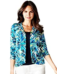 Per Una Palm Print Mock Layer Top