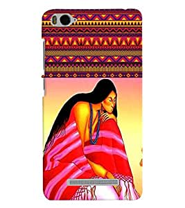 Fuson Pattern Girl with Flowers Back Case Cover for XIAOMI Mi 4c - D3942