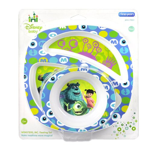 The First Years Disney Monsters Inc. Break Resistant Bowl & Plate 2 Piece Feeding Set