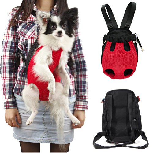 Sunwize Pet Legs Out Front Style Mesh Dog Cat Carrier/bag Nylon Red Backpack-Large Size