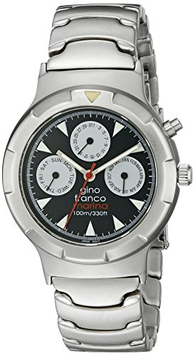gino franco Men's 980SL Round Stainless Steel Multi-Function Bracelet Watch